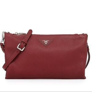 Prada Vitello Daino Crossbody Bag Burgundy Cerise